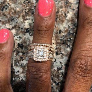 Rose Gold almost 2ct tw . Wedding Ring Set